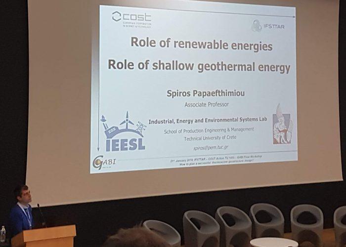 Invited presentation for the Final Workshop in Geothermal Applications for building and infrastructures